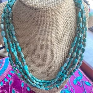 LAYERED STATEMENT NATURAL TURQUOISE BOHO NECKLACE